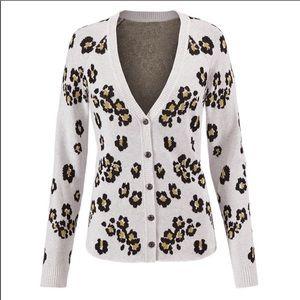 Cabi Kiki cardigan sweater leopard print XS 5277